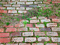 A brick sidewalk pattern shows the age and wear of a sidewalk at Bille Creek Village, a historic village recreation of 19th century Indiana