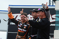 Apr. 15, 2012; Concord, NC, USA: NHRA top fuel dragster drivers (left to right) Clay Millican , Bob Vandergriff Jr and Pat Dakin during eliminations for the Four Wide Nationals at zMax Dragway. Mandatory Credit: Mark J. Rebilas-