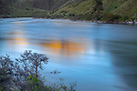 Hells Canyon NRA, Oregon/Idaho:<br /> Snake river reflecting the colors of the evening sky. Near Salt Creek.
