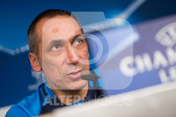Apoel's coach Giorgos Donis attends to the Apoel FC press conference before Champions League match between Real Madrid and Apoel at Santiago Bernabeu Stadium in Madrid, Spain September 12, 2017. (ALTERPHOTOS/Borja B.Hojas)