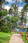 Views along the public walkway at Kaanapali Beach, Maui, Hawaii