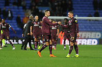 Bersant Celina (left) shakes hands with Connor Roberts (right) of Swansea City at full time of the Sky Bet Championship match between Bolton Wanderers and Swansea City at the Macron Stadium in Bolton, England, UK. Saturday 10 November 2018