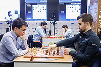 31st December 2019, Moscow, Russia; Yu Yangyi L of China and Magnus Carlsen of Norway compete during the Blitz Open final at 2019 King Salman World Rapid & Blitz Chess Championship in Moscow, Russia