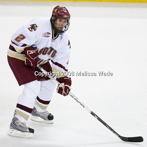 Anthony Aiello (Boston College - 2) - The Boston College Eagles defeated the University of Wisconsin Badgers 5-4 on Friday, October 10, 2008 after raising their 2008 National Championship banner at Kelley Rink in Conte Forum in Chestnut Hill, Massachusetts.