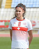 20180305 - LARNACA , CYPRUS : Swiss Cinzia Zehnder pictured during a women's soccer game between Switzerland and Wales , on monday 5 March 2018 at GSZ Stadium in Larnaca , Cyprus . This is the third game in group A for Switzerland and Wales during the Cyprus Womens Cup , a prestigious women soccer tournament as a preparation on the World Cup 2019 qualification duels. PHOTO SPORTPIX.BE | DAVID CATRY