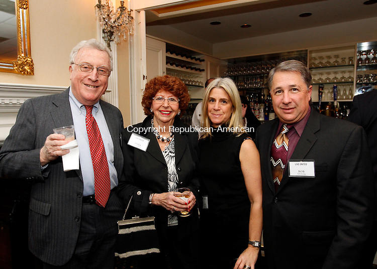 Waterbury, CT- 19, November 2010-111910CM07 Social Moments The United Way of Greater Waterbury Leavenworth Society Reception- The Country Club of Waterbury L-R--  Don and Anita Liebeskind of Southbury, Ellen and Rob Zwang of Woodbury.  Christopher Massa Republican-American