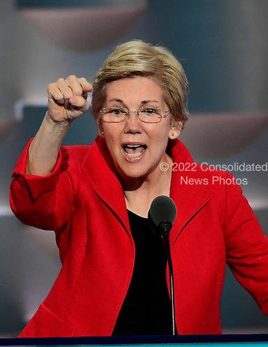 United States Senator Elizabeth Warren (Democrat of Massachusetts) makes remarks at the 2016 Democratic National Convention at the Wells Fargo Center in Philadelphia, Pennsylvania on Monday, July 25, 2016.<br /> Credit: Ron Sachs / CNP<br /> (RESTRICTION: NO New York or New Jersey Newspapers or newspapers within a 75 mile radius of New York City)