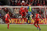 Toronto, ON, Canada - Saturday Dec. 10, 2016: Eriq Zavaleta, Jordan Morris during the MLS Cup finals at BMO Field. The Seattle Sounders FC defeated Toronto FC on penalty kicks after playing a scoreless game.