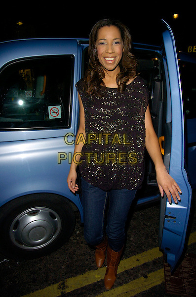 MARGHERITA TAYLOR.June Sarpong's T4 leaving party, Movida bar & nightclub, London, England..December 20th, 2007.full length jeans denim tucked into brown boots black gold sparkly top car van.CAP/CAN.©Can Nguyen/Capital Pictures