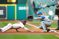 Kentucky Wildcats first baseman Kole Cottam (13) on defense against the Houston Cougars in game two of the 2018 Shriners Hospitals for Children College Classic at Minute Maid Park on March 2, 2018 in Houston, Texas.  The Wildcats defeated the Cougars 14-2 in 7 innings.   (Brian Westerholt/Four Seam Images)