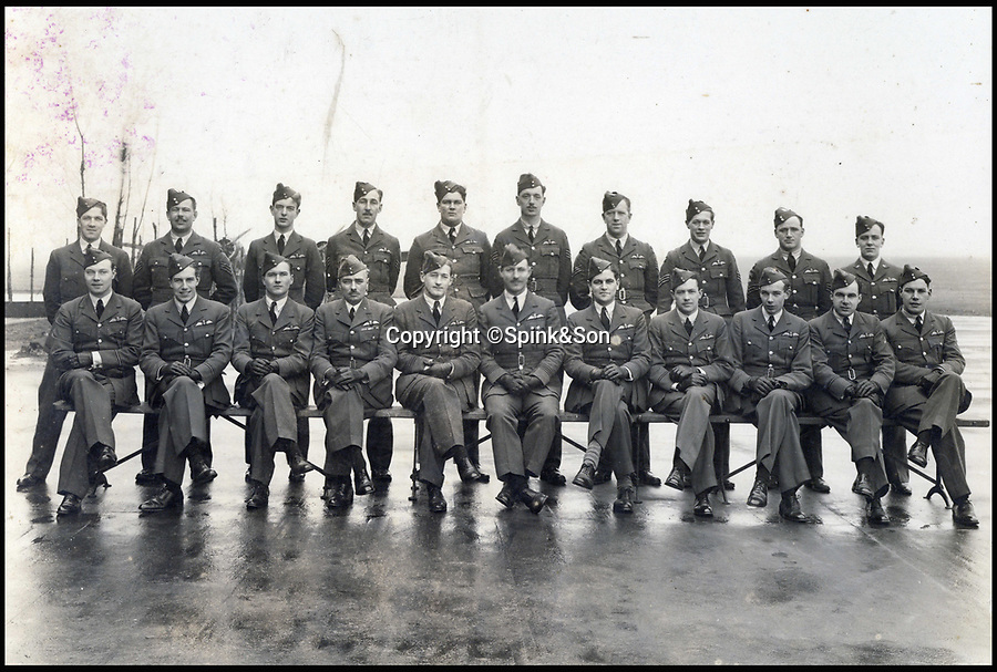 BNPS.co.uk (01202 55883&pound;)<br /> Pic: Spink&amp;Son/BNPS<br /> <br /> Kenneth Cross (front centre) with his squadron, taken a month before almost all of them were killed in the sinking of HMS Glorious.<br /> <br /> The remarkable archive of an RAF officer who was one of six out of 37 men to survive three days adrift in the freezing Arctic Ocean have come to light.<br /> <br /> Sir Kenneth Cross had already cheated death by dodging a bullet aimed for his head in the cockpit of his plane when the aircraft carrier he was on was attacked and sunk.<br /> <br /> He plunged into the icy sea and was one of 37 survivors to make it into a lifeboat. With hardly any food or water on board, most of the shipwrecked men died from exposure over the next 70 hours.<br /> <br /> Now a water-stained diary he kept while shipwrecked, his RAF log book and 16 medals are coming up for sale at auctioneers Spink of London.