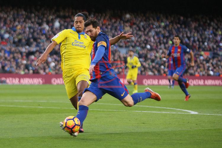 League Santander 2016/2017. Game: 18.<br /> FC Barcelona vs UD Las Palmas: 5-0.<br /> Lionel Messi vs Lemos.