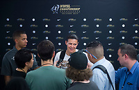 Orlando, FL - Saturday October 14, 2017:Christine Sinclair, media during the NWSL Championship match between the North Carolina Courage and the Portland Thorns FC at Orlando City Stadium.   The Portland Thorns won the championship, 1-0.