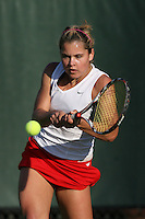 STANFORD, CA - JANUARY 30:  Courtney Clayton of the Stanford Cardinal during Stanford's 6-1 win over the Colorado Buffaloes in the ITA Indoor Qualifying on January 30, 2009 at the Taube Family Tennis Stadium in Stanford, California.