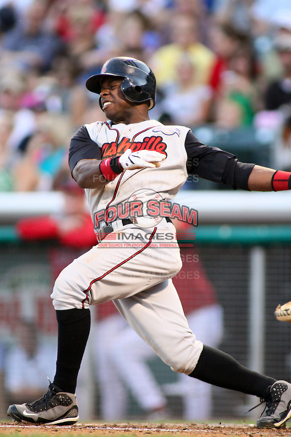 August 10, 2009: Jason Bourgeois of the Nashville Sounds, Pacific Cost League Triple A affiliate of the Milwaukee Brewers, during a game at the Spring Mobile Ballpark in Salt Lake City, UT.  Photo by:  Matthew Sauk/Four Seam Images