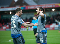 Lincoln City's Aaron Lewis, right, celebrates scoring his side's second goal with team-mate Neal Eardley<br /> <br /> Photographer Andrew Vaughan/CameraSport<br /> <br /> The EFL Sky Bet League One - Accrington Stanley v Lincoln City - Saturday 15th February 2020 - Crown Ground - Accrington<br /> <br /> World Copyright © 2020 CameraSport. All rights reserved. 43 Linden Ave. Countesthorpe. Leicester. England. LE8 5PG - Tel: +44 (0) 116 277 4147 - admin@camerasport.com - www.camerasport.com