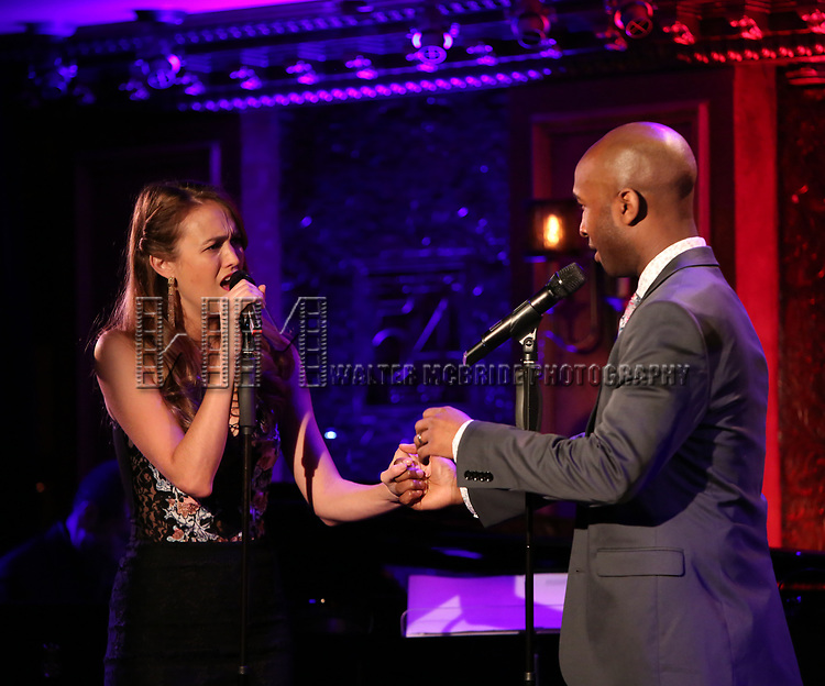 """Maddie Shea Baldwin and Donald Webber Jr. on stage during a Song preview performance of the BeBe Winans Broadway Bound Musical """"Born For This"""" at Feinstein's 54 Below on November 5, 2018 in New York City."""