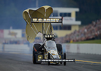 Oct. 6, 2012; Mohnton, PA, USA: NHRA top fuel dragster driver Tony Schumacher during qualifying for the Auto Plus Nationals at Maple Grove Raceway. Mandatory Credit: Mark J. Rebilas-