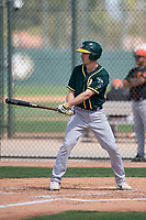 Oakland Athletics third baseman Jake Lumley (8) during a Minor League Spring Training game against the San Francisco Giants at Lew Wolff Training Complex on March 26, 2018 in Mesa, Arizona. (Zachary Lucy/Four Seam Images)