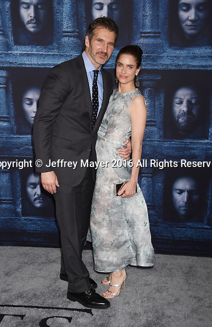 HOLLYWOOD, CA - APRIL 10: Novelist David Benioff (L) and actress Amanda Peet arrive at the premiere of HBO's 'Game of Thrones' Season 6 at the TCL Chinese Theatre on April 10, 2016 in Hollywood, California.