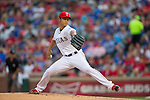 Yu Darvish (Rangers),<br /> APRIL 11, 2014 - MLB :<br /> Yu Darvish of the Texas Rangers pitches during the baseball game against the Houston Astros at Rangers Ballpark in Arlington in Arlington, Texas, United States. (Photo by Thomas Anderson/AFLO) (JAPANESE NEWSPAPER OUT)