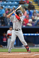 Greenville Drive right fielder Nick Longhi (21) awaits a pitch during a game against the Asheville Tourists on April 16, 2015 in Asheville, North Carolina. The Tourists defeated the Drive 5-4. (Tony Farlow/Four Seam Images)