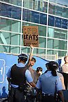 Demonstrators led by the organizing committee of Cop Watch protest the 1968 Riot Cops Reunion, but were kept a block away by police from the Fraternal Order of Police Headquarters, where the reunion took place, in the West Loop in Chicago, Illinois on June 26, 2009.