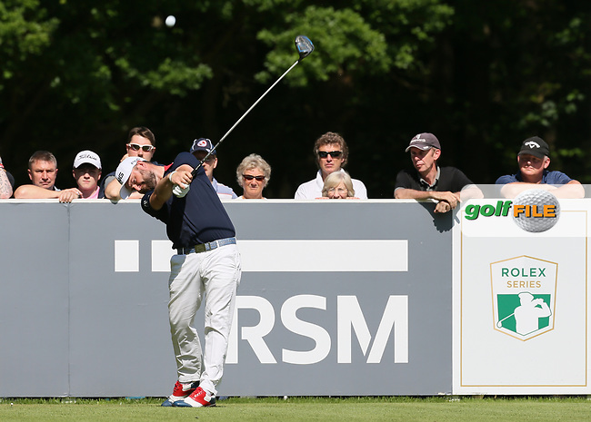 Andy Sullivan (ENG) drives from the 3rd tee during the Pro-Am ahead of the BMW PGA Championship, at Wentworth Golf Club, Surrey, England.  24/05/2017. Picture: David Lloyd | Golffile.<br /> <br /> Images must display mandatory copyright credit - (Copyright: David Lloyd | Golffile).