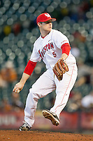 Relief pitcher Codey Morehouse #5 of the Houston Cougars in action against the Arkansas Razorbacks at Minute Maid Park on March 3, 2012 in Houston, Texas.  The Cougars defeated the Razorbacks 4-1.  Brian Westerholt / Four Seam Images
