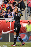 United States goalkeeper Tim Howard (1). The men's national team of Spain (ESP) defeated the United States (USA) 4-0 during a International friendly at Gillette Stadium in Foxborough, MA, on June 04, 2011.