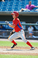 Thomas Milone #15 of Masuk High School in Monroe, Connecticut playing for the Philadelphia Phillies scout team during the East Coast Pro Showcase at Alliance Bank Stadium on August 3, 2012 in Syracuse, New York.  (Mike Janes/Four Seam Images)