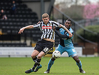 Jonathan Stead of Notts County & Aaron Pierre of Wycombe Wanderers battle for the ball during the Sky Bet League 2 match between Notts County and Wycombe Wanderers at Meadow Lane, Nottingham, England on 28 March 2016. Photo by Andy Rowland.