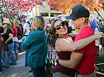 Cindy Salinas, of Carson City, and Jay Hernandez, of Reno, meet up at the annual Telegraph Square street party during the Nevada Day celebration in Carson City, Nev., on Saturday, October 28, 2017.<br /> Photo by Lance Iversen/Nevada Momentum