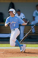 Levi Michael #1 of the North Carolina Tar Heels follows through on his swing against the Coastal Carolina Chanticleers at Boshamer Stadium May 30, 2010, in Chapel Hill, North Carolina.  Photo by Brian Westerholt / Four Seam Images