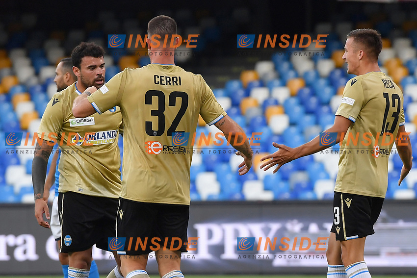 Andrea Petagna of SPAL celebrates with team mates after scoring the goal of 1-1 during the Serie A football match between SSC  Napoli and SPAL at stadio San Paolo in Naples ( Italy ), June 28th, 2020. Play resumes behind closed doors following the outbreak of the coronavirus disease. <br /> Photo Carmelo Imbesi / Insidefoto
