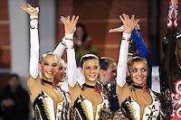 November 8, 2008; Durango, Spain (near Bilbao); Rhythmic gymnasts from Ukraine senior group celebrate 2nd place win during awards ceremony at 2008 Euskalgym International..