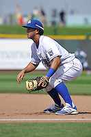 Cheslor Cuthbert #24 of the Omaha Storm Chasers takes his defensive stance at first base against the Las Vegas 51s at Werner Park on August 17, 2014 in Omaha, Nebraska. The Storm Chasers  won 4-0.   (Dennis Hubbard/Four Seam Images)