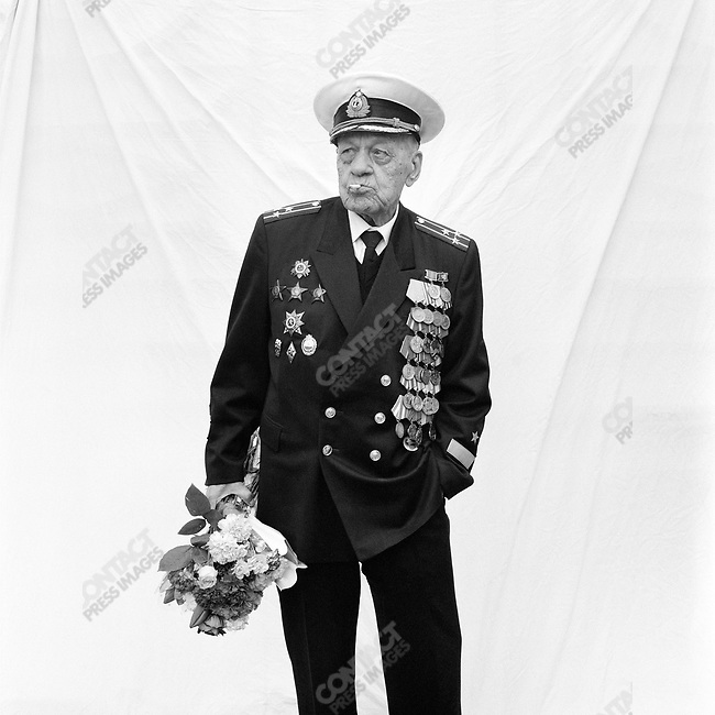 WWII veteran during Victory Day celebrations, Yuri Stepanovich Zaguskin, b. 1924, Motor Torpedo Boats, Baltic Fleet. Moscow, Russia, May 9, 2007