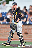 Bristol Pirates catcher Eli Wilson (28) during game two of the Appalachian League, West Division Playoffs against the Johnson City Cardinals at TVA Credit Union Ballpark on August 31, 2019 in Johnson City, Tennessee. The Cardinals defeated the Pirates 7-4 to even the series at 1-1. (Tony Farlow/Four Seam Images)