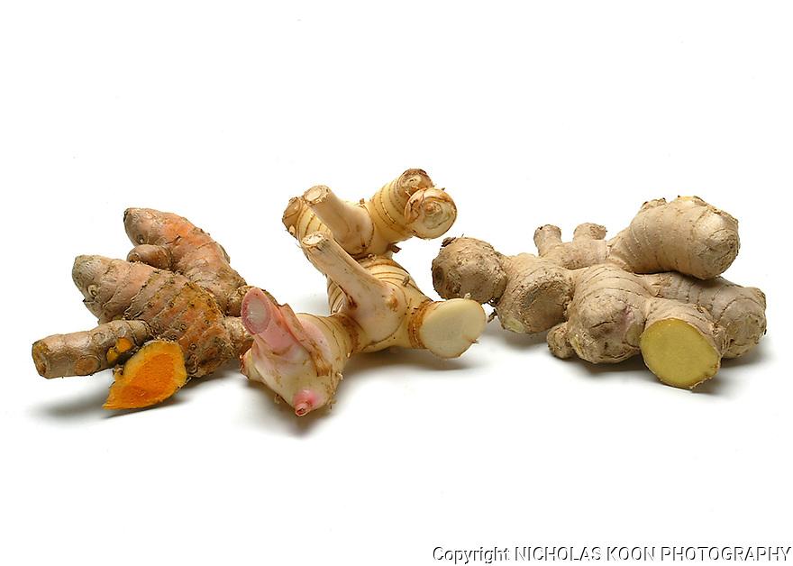 Tumeric, Galanga, Ginger still life.