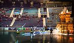 Stockholm 2014-10-14 Ishockey Hockeyallsvenskan AIK - Malm&ouml; Redhawks :  <br /> Vy &ouml;ver Hovet med publik och tomma stolar p&aring; l&auml;ktarna n&auml;r AIK:s spelare g&ouml;r entr&eacute; p&aring; isen inf&ouml;r matchen mellan AIK och Malm&ouml; Redhawks <br /> (Foto: Kenta J&ouml;nsson) Nyckelord:  AIK Gnaget Hockeyallsvenskan Allsvenskan Hovet Johanneshov Isstadion Malm&ouml; Redhawks supporter fans publik supporters intro inomhus interi&ouml;r interior