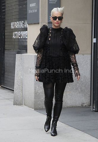 NEW YORK, NY - December 17: Rita Ora seen leaving the Hearst Magazine Building in New York City on December 17, 2018. Credit: RW/MediaPunch