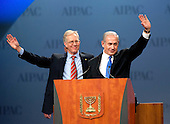 Michael Kassen, President, American Israel Public Affairs Committee (AIPAC), left, and Prime Minister Benjamin Netanyahu of Israel, right, wave to the 13,000 assembled delegates prior to Netanyahu's speech at the annual AIPAC Policy Conference at the Washington Convention Center in Washington, D.C. on Monday, March 5, 2012..Credit: Ron Sachs / CNP