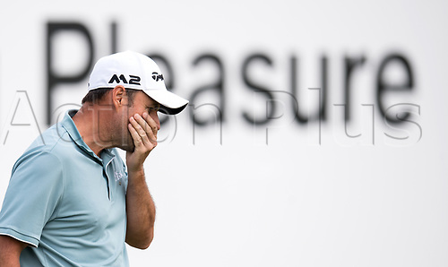 25th June 2017, Golf, Moosinning, Germany;  Spanish  Sergio Garcia touches his mouth at the men's singles 4th round at the International Open European Tour in Moosinning, Germany, 25 June 2017.
