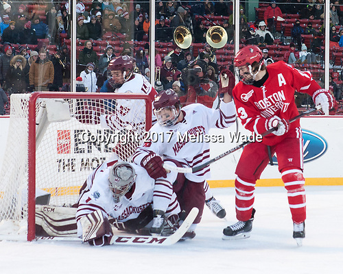 William Lagesson (UMass - 37), Ryan Wischow (UMass - 1), Joseph Widmar (UMass - 26), Jakob Forsbacka Karlsson (BU - 23) - The Boston University Terriers defeated the University of Massachusetts Minutemen 5-3 on Sunday, January 8, 2017, at Fenway Park in Boston, Massachusetts.The Boston University Terriers defeated the University of Massachusetts Minutemen 5-3 on Sunday, January 8, 2017, at Fenway Park.