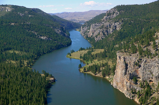 Missouri River flowing through Gates of the Mountains