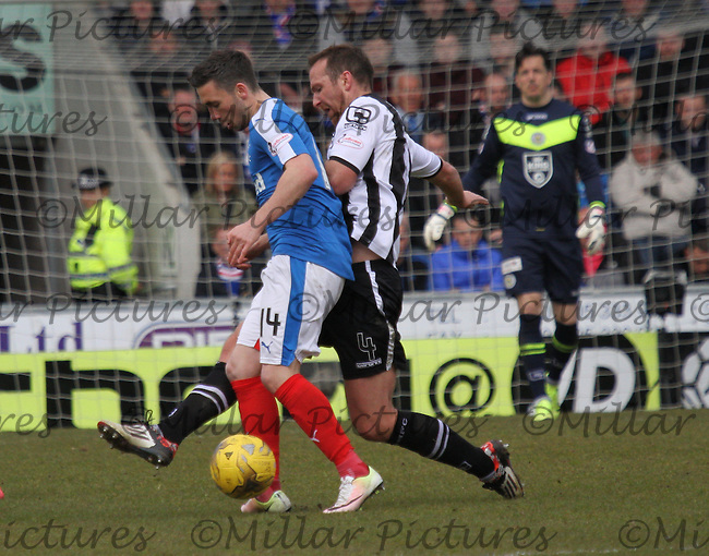Andy Webster tackling Nicky Clark in the St Mirren v Rangers Scottish Professional Football League Ladbrokes Championship match played at the Paisley 2021 Stadium, Paisley on 1.5.16.