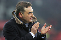 Swansea manager Carlos Carvalhal reacts at the end of the game during the Premier League match between Swansea City and West Ham United at The Liberty Stadium, Swansea, Wales, UK. Saturday 03 March 2018