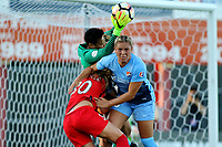 Piscataway, NJ - Saturday June 3, 2017:Adrianna Franch, Madison Tiernan, Celeste Boureille during a regular season National Women's Soccer League (NWSL) match between Sky Blue FC and the Portland Thorns at Yurcak Field.  Portland defeated Sky Blue, 2-0.
