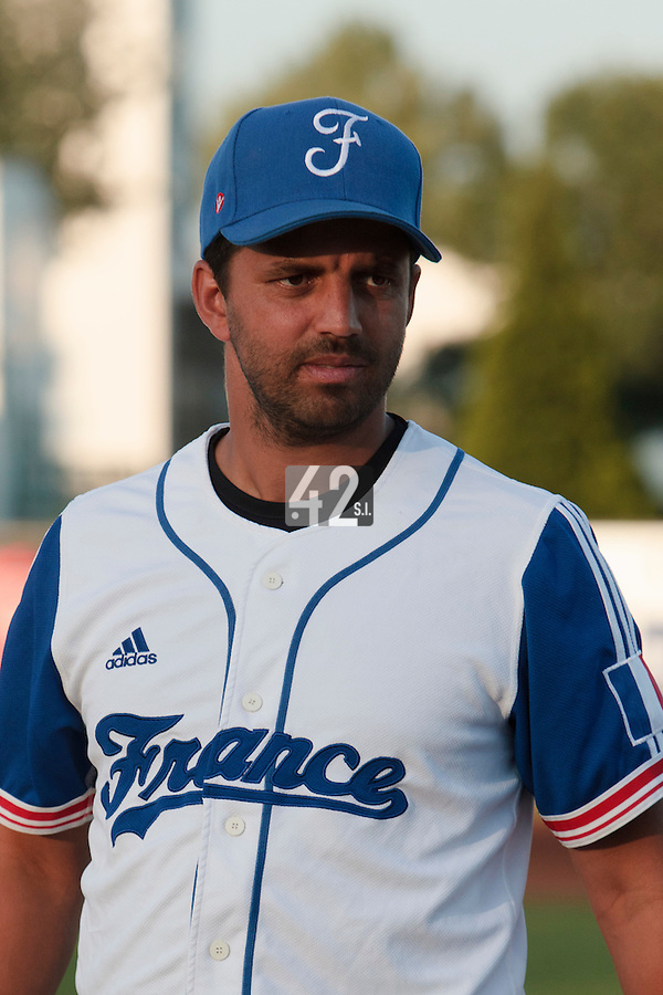 21 August 2010: Jamel Boutagra of Team France is seen prior to Russia 13-1 win in 7 innings over France, at the 2010 European Championship, under 21, in Brno, Czech Republic.